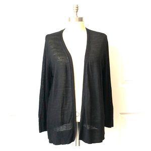 Ann Taylor LOFT Black Open Front Cardigan Size XL